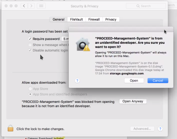 Mac OS Security Settings for the PROCEED MS