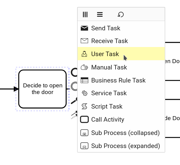 From an activity to a user task