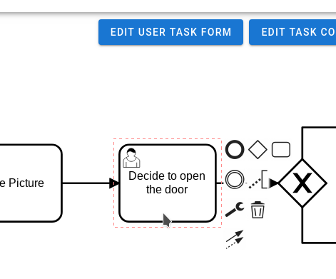 The edit user task form button appears