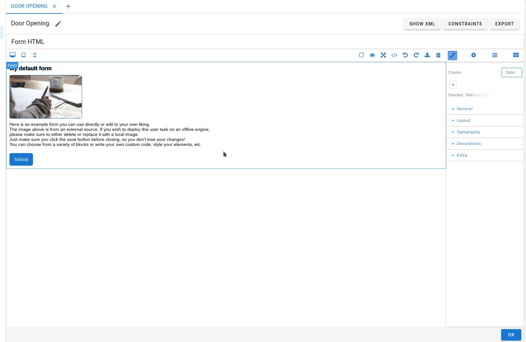 HTML editor landing page
