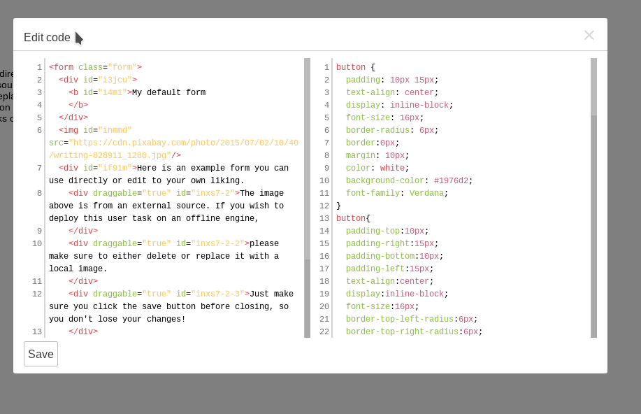 Html editor source code editor